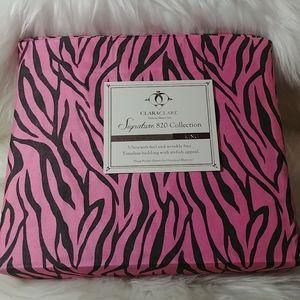 Clara Clark 820 King Pink Zebra Sheet Set
